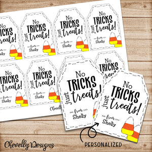 Personalized Candy Corn Gift Tags | Printable - digital file | No Tricks just Treats