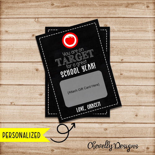 Personalized 5x7 Back to School Gift Card Printable - You are on Target for a Great School Year ***Printable Digital File***