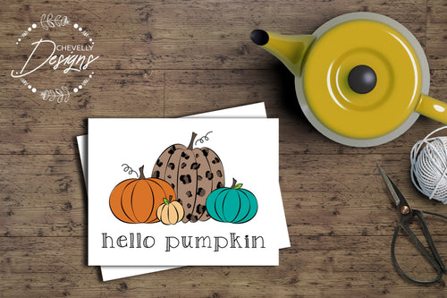 Hello Pumpkin Stationary - Fall Notecards - A2 Size 4.25