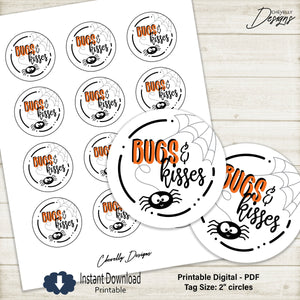 Printable 2 Inch Bugs and Kisses Circle Gift Tags for Hugs (bugs) and kisses| Instant Digital Download