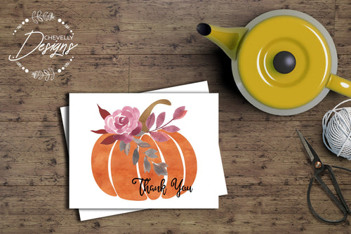 Floral Pumpkin Thank You Stationary - Fall Notecards - A2 Size 4.25