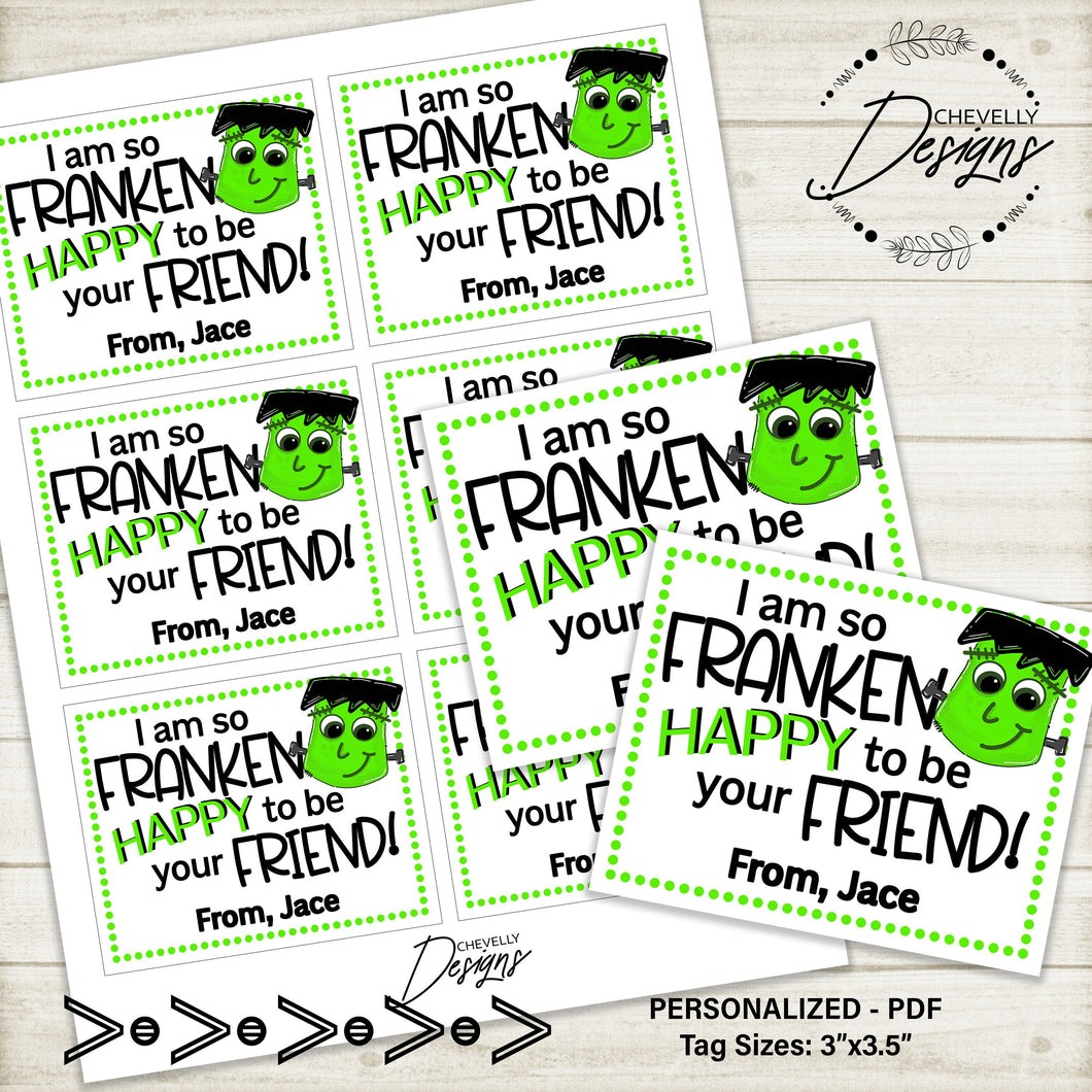 Personalized Frankenstein Gift Tags | Printable - Digtal File | Halloween Party Favors
