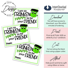 Load image into Gallery viewer, Printable - Instant Digital Download - Frankenstein Gift Tags - Halloween Party Favors
