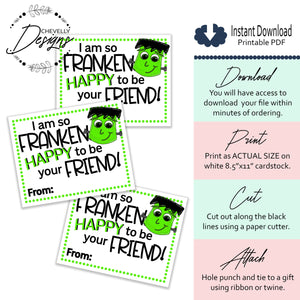 Printable - Instant Digital Download - Frankenstein Gift Tags - Halloween Party Favors