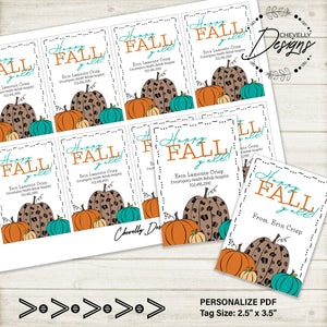 Personalized Happy Fall Yall Pumpkin Gift Tags ***Printable Digital File***