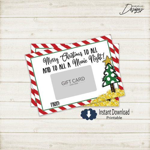 Printable Movie Night Christmas Gift Card Holder >>>Instant Digital Download<<<
