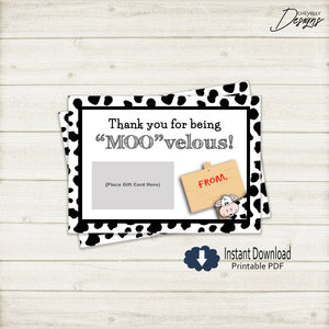 Cow Thank You Gift Card Printable - teacher, school staff, coworker | Printable - Instant Digital File