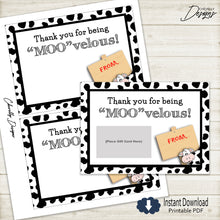Load image into Gallery viewer, Cow Thank You Gift Card Printable - teacher, school staff, coworker | Printable - Instant Digital File
