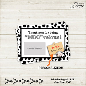 Personalized Cow Thank You Gift Card Printable - teacher, school staff, coworker | Printable - Digital File