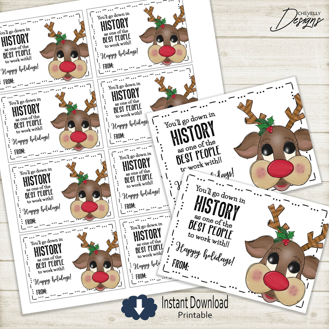 Printable Rudolf Christmas Gift Tags for Associates >>>Instant Digital Download<<<