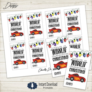 Printable - Wheelie Awesome Race Car Christmas Gift Tags >>>Instant Digital Download<<<