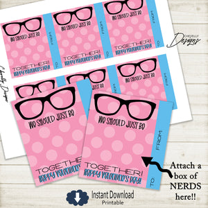 Printable NERD Valentine Cards -  We Should Be Nerds - Pink >>>Instant Digital Download<<<