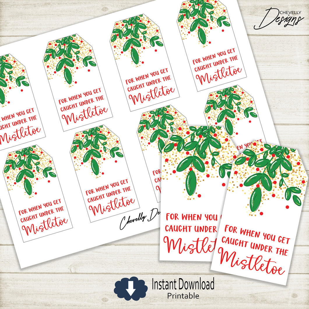 Printable Mistletoe Christmas Gift Tags for Hershey Kisses >>>Instant Digital Download<<<
