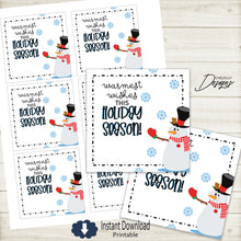 Load image into Gallery viewer, Printable - Warmest wishes this Holiday season - Snowman Gift tags  >>>Instant Digital Download<<<