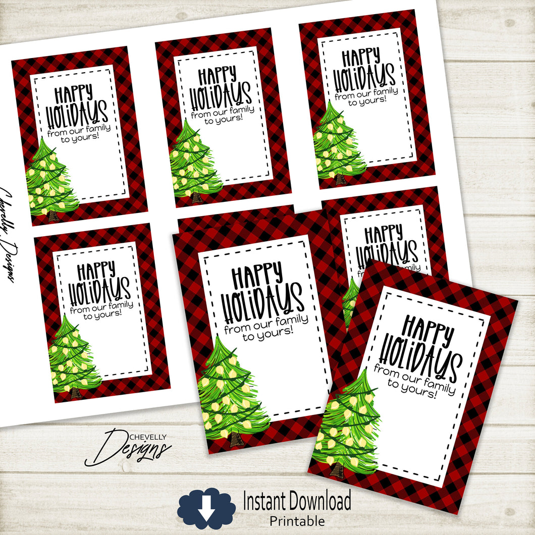 Printable Buffalo Check Happy Holiday Christmas Tree Gift Tags >>>Instant Digital Download<<<