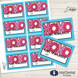 Printable XOXO Valentine Cards - Hugs and Kisses Valentines for Kids >>> Instant Download <<<