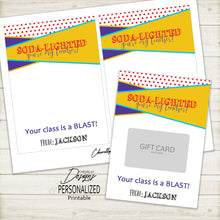 Load image into Gallery viewer, Personalized Teacher Appreciation SONIC Gift Card Holder | Printable - Digital File