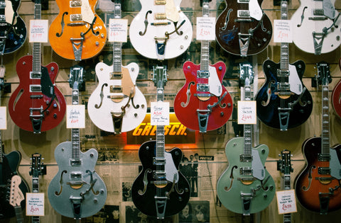 electric guitar wall in a music shop