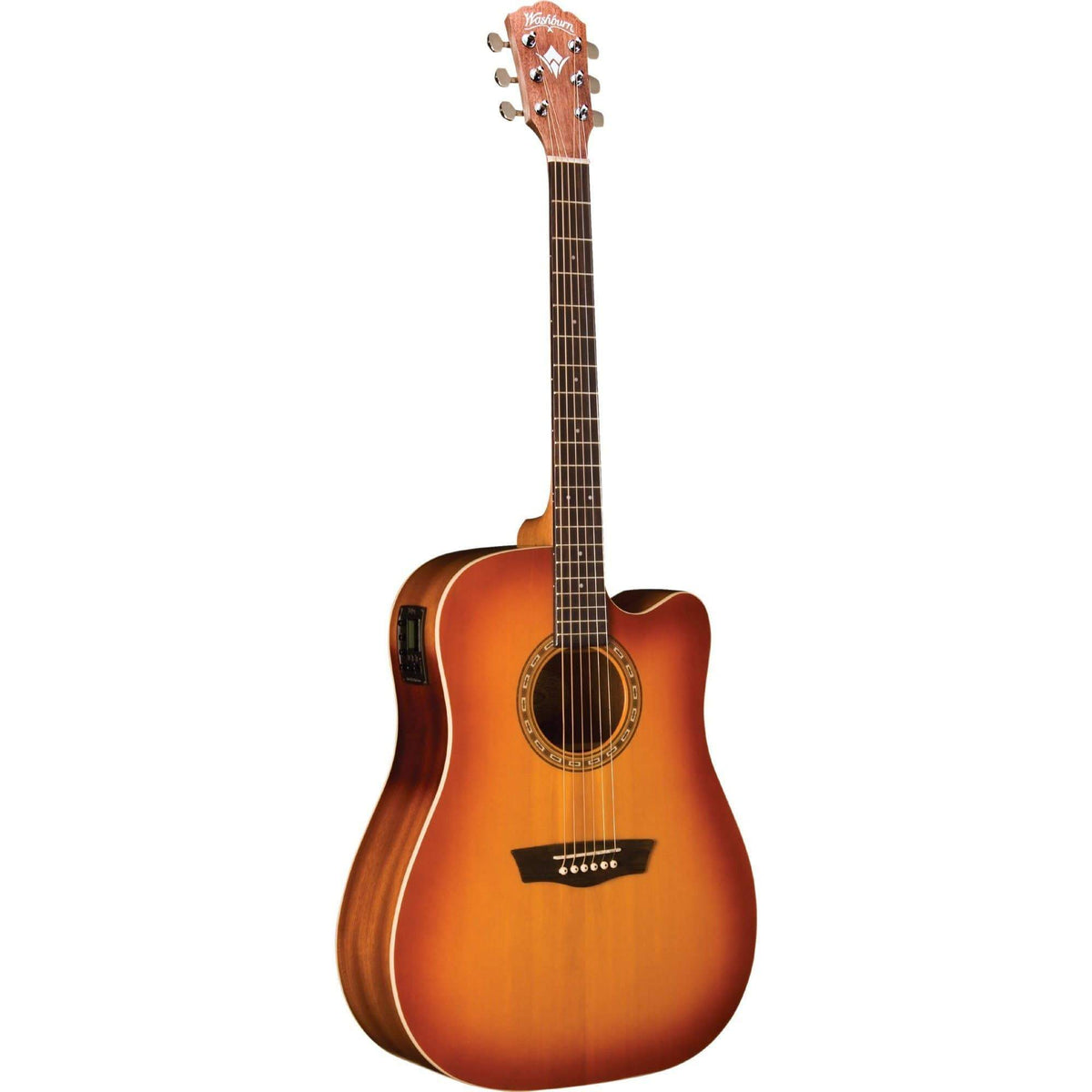 Washburn WD7SCEACSM Semi-Acoustic Guitar - Antique Cherry Sunburst Matte