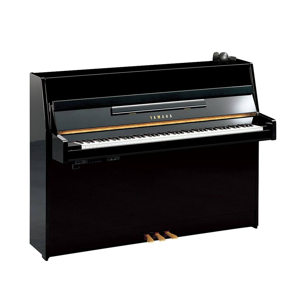 Yamaha JU109S Upright Piano Silent with Piano Bench - Polished Ebony