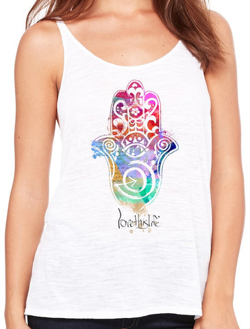 "- ""Hamsa Manifesto"" Love This Life Tank Top"