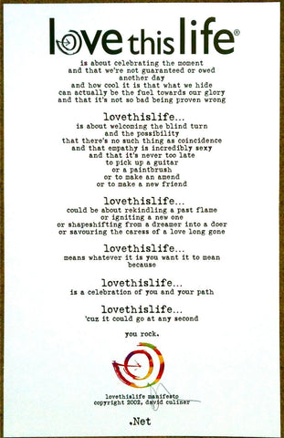 lovethislife Manifesto Signed Poster - Love This Life