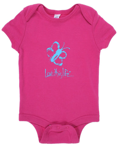 "T-LTL KID Vintage ""Kiddo the Butterfly"" Onesie Fuchsia"