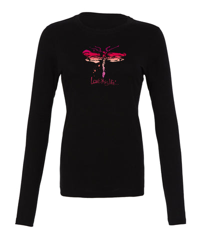 "- lovethislife ""Dragonfly Manifesto"" Crew Neck L/S (Black)"