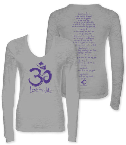 "*lovethislife SLIM ""Meditation Manifesto"" Burnout L/S - Slate - (FINAL SALE - No Exchange Or Return)"