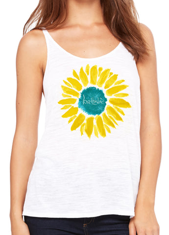 "- ""Sunflower Manifesto"" Love This Life Tank Top"