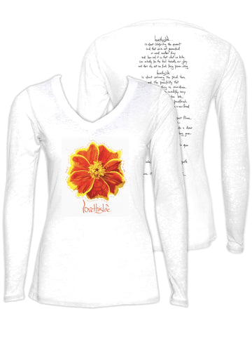"- lovethislife SLIM FIT ""Marigold Manifesto"" Burnout V-Neck L/S"