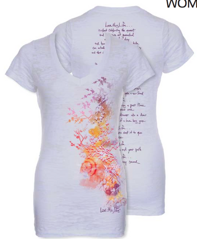 "*lovethislife SLIM ""Water Blossom Manifesto"" Burnout S/S - (FINAL SALE - No Exchange Or Return)"