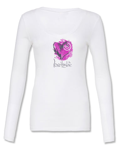 "- lovethislife FITTED ""Open Heart Manifesto"" V-Neck L/S (White)"