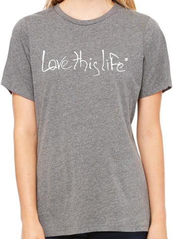"*lovethislife RELAXED ""Signature Manifesto"" Tri-Blend S/S - Heather Gray - (FINAL SALE - No Exchange Or Return)"