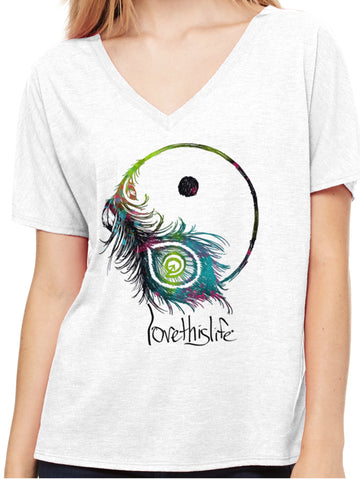 *lovethislife Feather Yin/Yang Manifesto Dolman  (FINAL SALE - No Exchange Or Return)