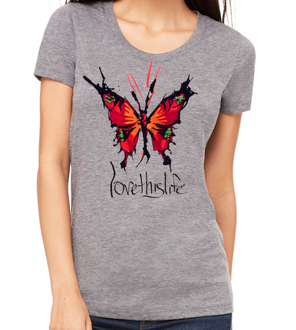 "*lovethislife FITTED ""Her Butterfly Manifesto"" Tri-Blend S/S - Heather Gray - (FINAL SALE - No Exchange Or Return)"
