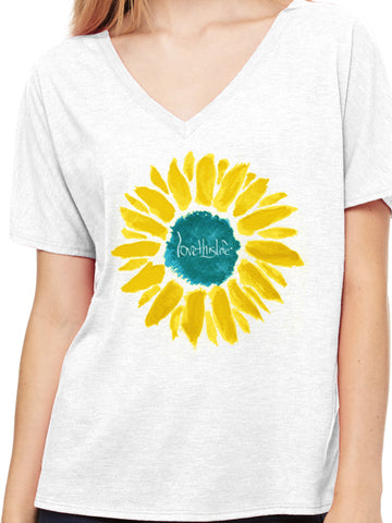 "- ""Sunflower Manifesto"" Dolman Love This Life S/S (White)"