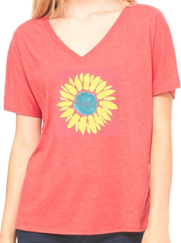"- ""Sunflower Manifesto"" Dolman Love This Life S/S (Vintage Red)"