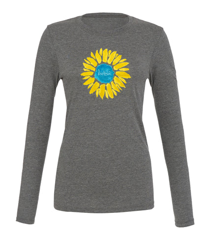 "- lovethislife ""Sunflower Manifesto"" Crew Neck L/S (Heather Gray)"