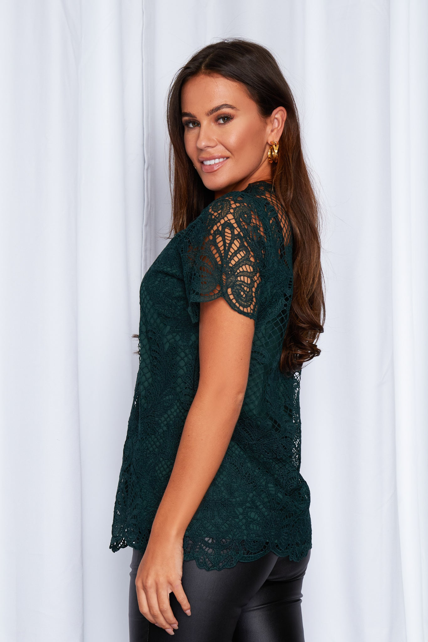 Christine Short Sleeve Lace Top Emerald
