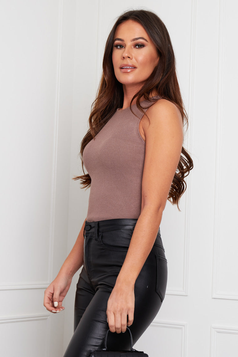 Joelle Sleeveless Knit Bodysuit Mocha