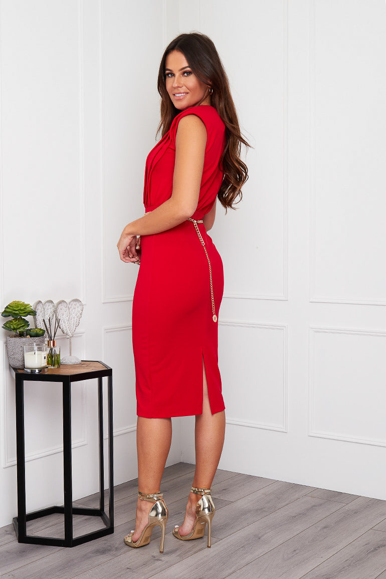 Athena Pleated Shoulder Pad Midi Dress Red