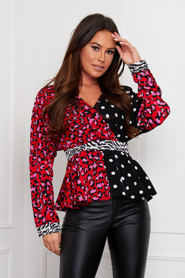 Brooklyn Long Sleeve Wrap Top Red Mix