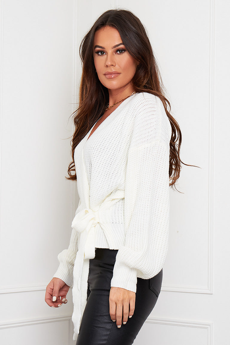 Phoebe Wrap Over Cardigan Cream