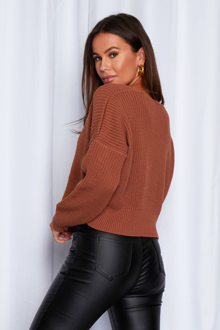 Kiera Relaxed Fit Cardigan Rust