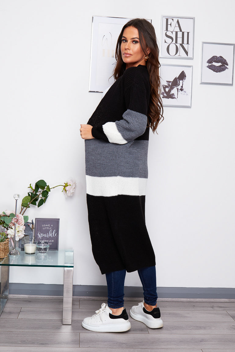Maxine Longline Striped Cardigan Black