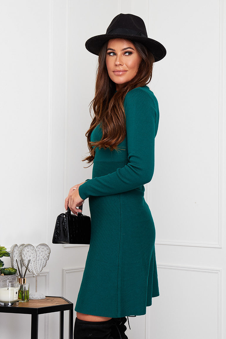 Ida High Neck Knitted Skater Dress Emerald