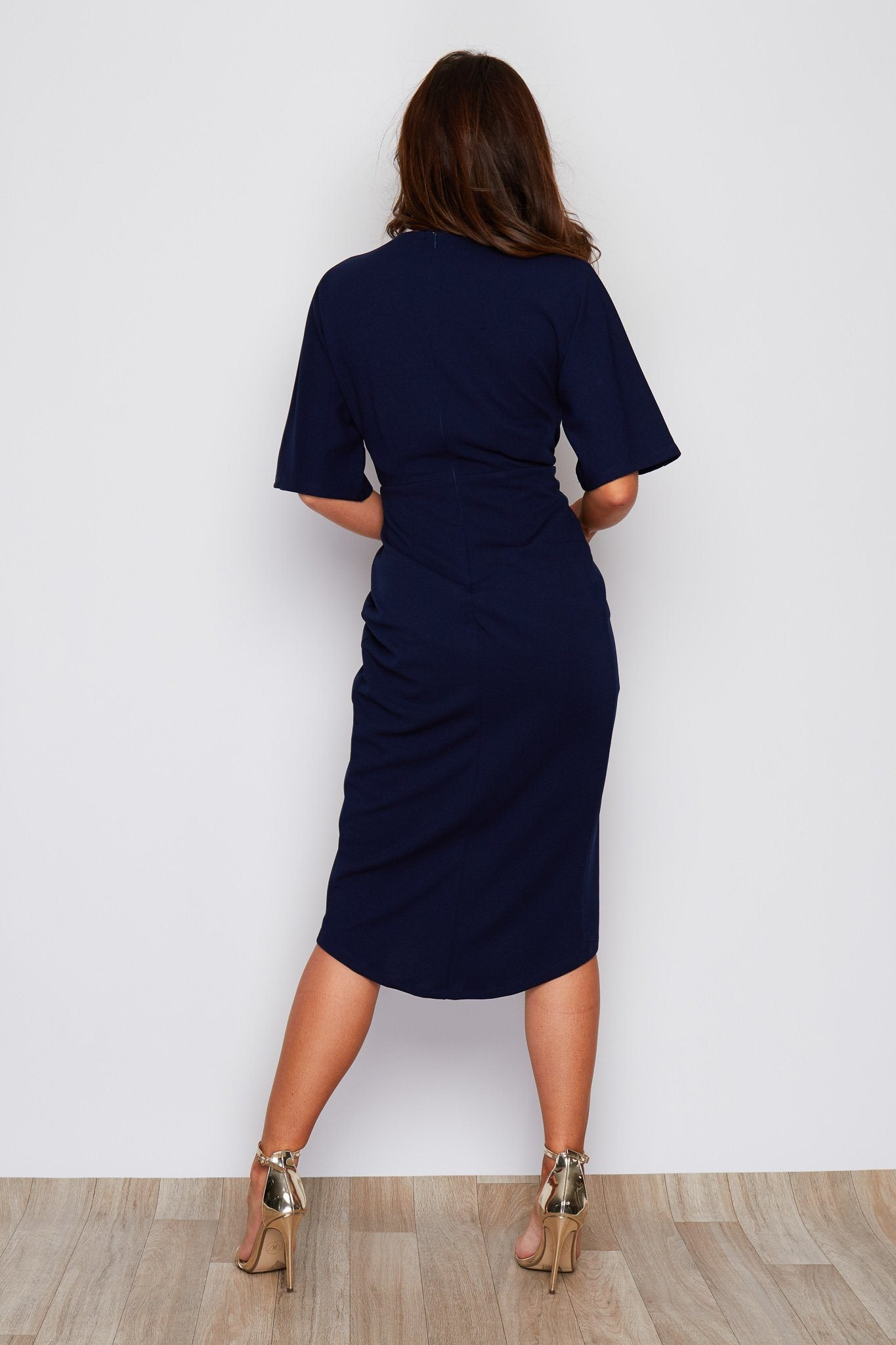 Chelsea Wrap Detailing Midi Dress Navy Dresses Girl In Mind