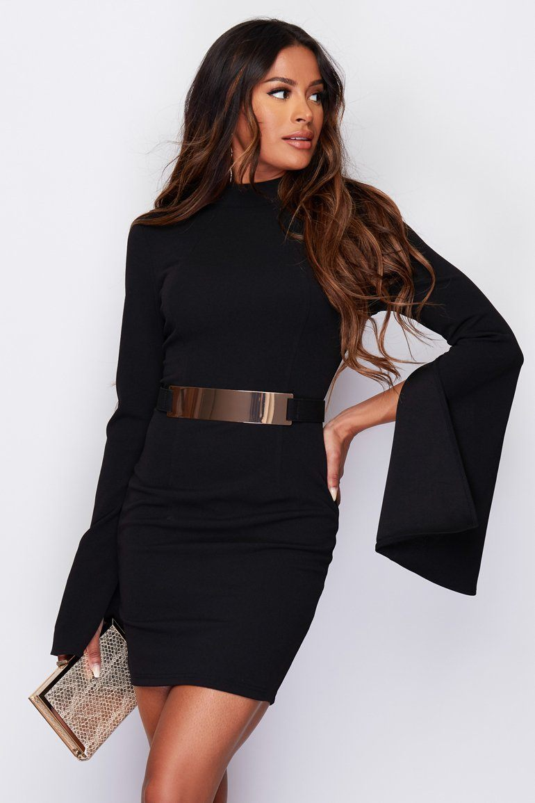 Clara Cape Sleeve Belted Mini Dress SI6134-Black Dresses Girl In Mind