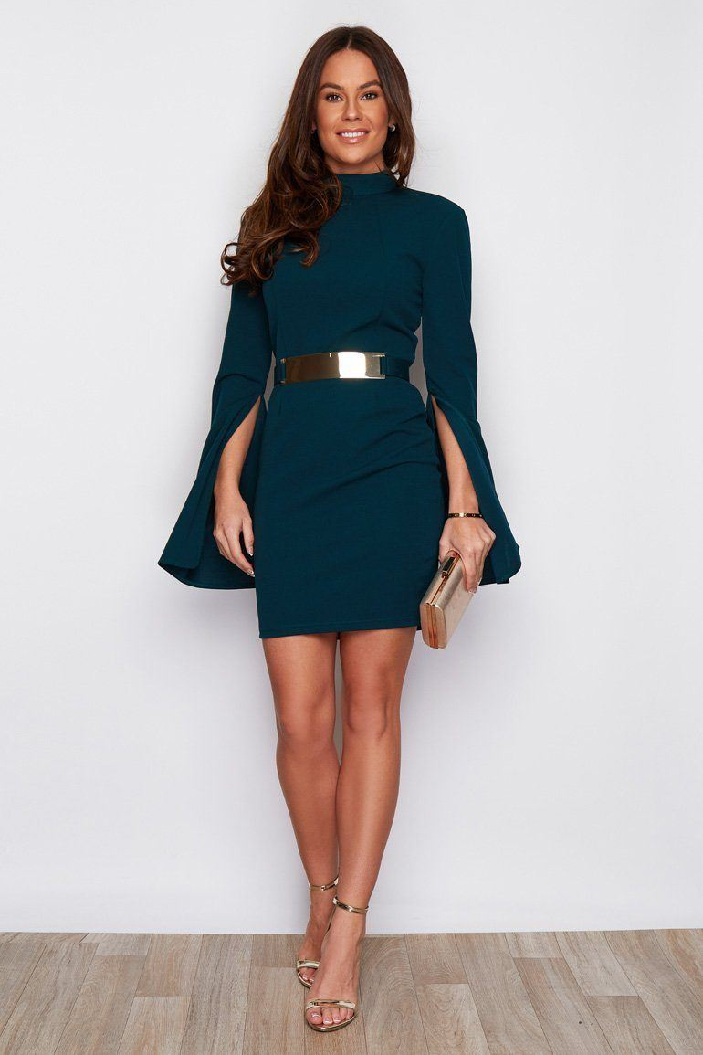 Clara Cape Sleeve Belted Mini Dress SI6134-Emerald Dresses Girl In Mind